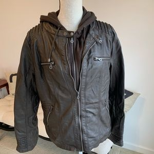 Brown faux leather biker bomber jacket with hood